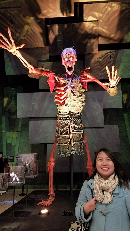 At the Laika exhibit at the Portland Art Museum, this display shows how Laika scaled the giant skeleton (here 18 feet, which is 1/5 scale of the 90 feet in human scale the monster is in the story) to the average height of the other characters Kubo (9.25 inches), Monkey (13 inches), Beetle (21 inches), and Hanzo Origami (2 inches).