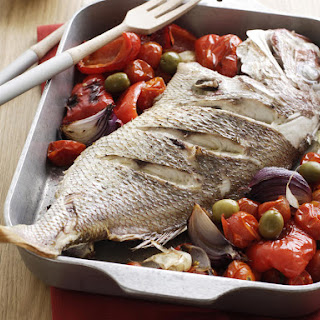 Snapper with Roasted Tomatoes, Peppers and Olives
