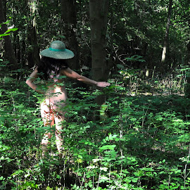 She Wanders the Glade by DJ Cockburn - Nudes & Boudoir Artistic Nude ( forest, south asian, woman, art nude, woodland, green hat, natural light, tree, rear view, outdoor, dark hair, standing, walking, brunette, anonymous, model, wood, anonymised, indian )