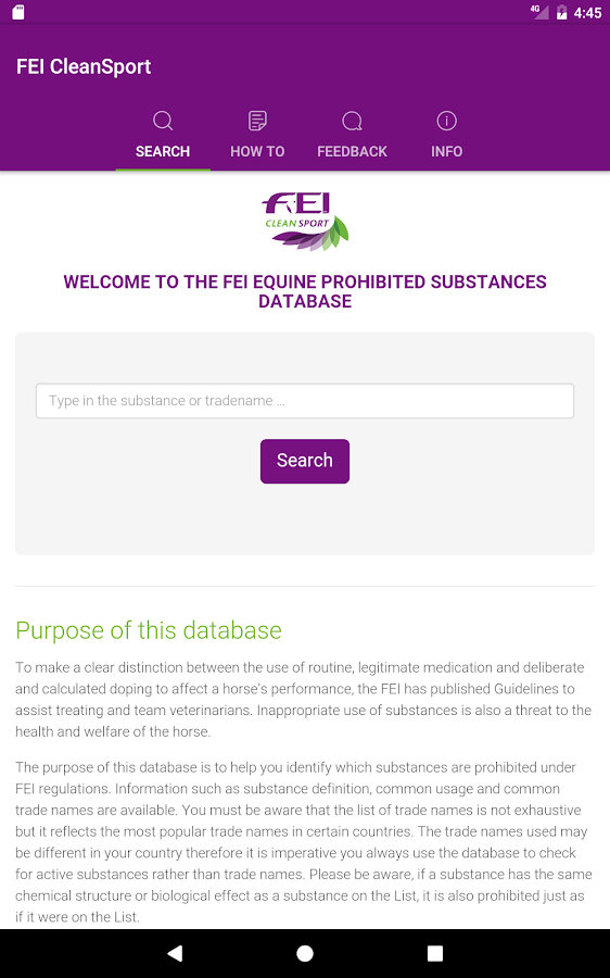 FEI CleanSport Database- screenshot