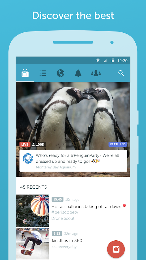 Screenshots of Periscope for iPhone