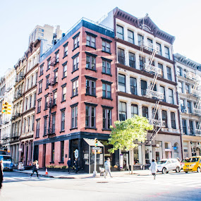 New York Street Scene by Thomas Shaw - City,  Street & Park  Neighborhoods ( building, walking, brick, street, manhattan, windows, cityscape, new york, people, photography, street photography, city, sky, buildings, trees, new york city, downtown )
