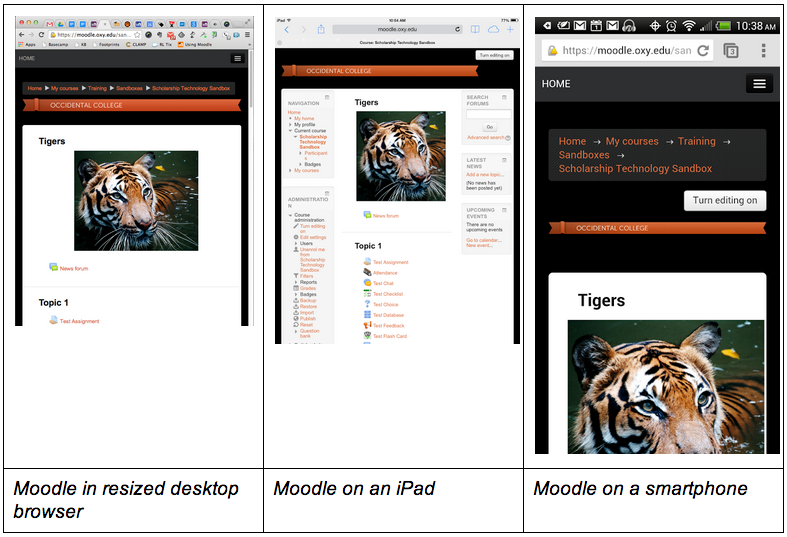 Moodle responsive design examples