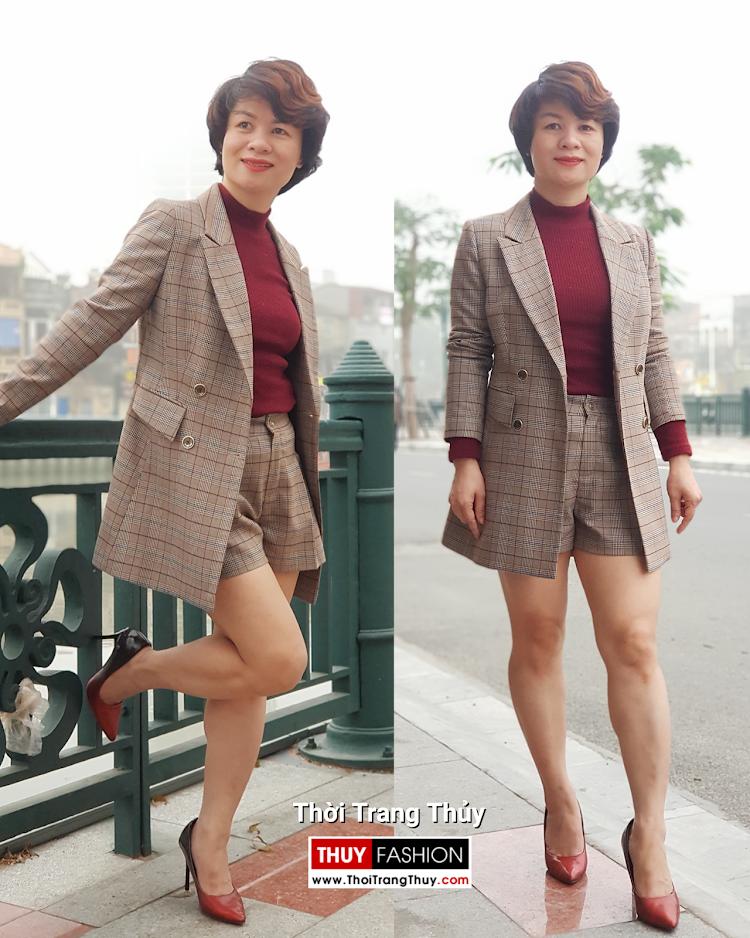 Bộ áo vest nữ dài qua mông và quần short kẻ caro V694 thời trang thủy sài gòn
