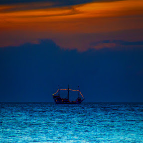 Pirates Paradise ... by Martin Seraphin - Transportation Boats ( pirates, florida, sunset, bark, boat )