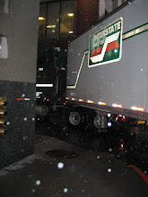 Photo: Here is the 53' truck with the art glass. It arrived around 4 p.m. in the middle of rush hour and rain. The turn into the loading dock proved too tight.