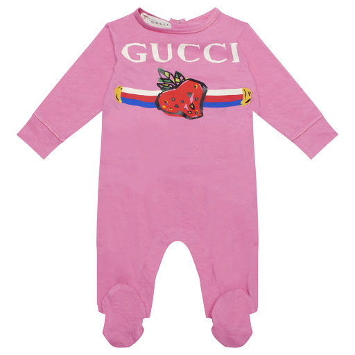 Primary image of Gucci Strawberry Logo Babygrow