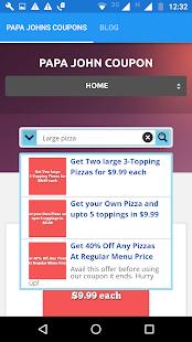 Coupons for Papa Johns Pizza screenshot