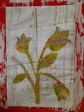 "Photo: Between the Tulips mixed media monoprint art 10""x8"" SOLD"