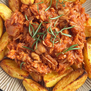 Barbecue Pulled Jackfruit With Roast Potatoes [Vegan, Gluten-Free].