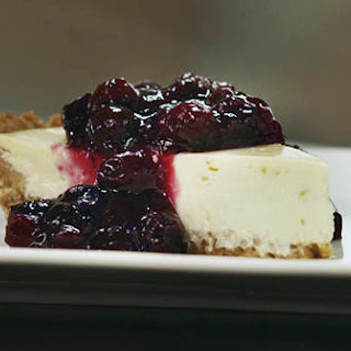 Quark & Yogurt Cheesecake with Blueberry Preserves.