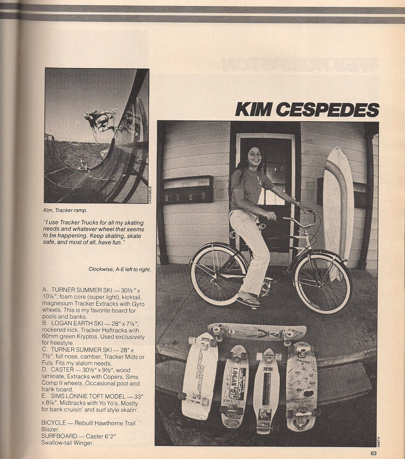 Photo: A young Kim with her skateboard quiver