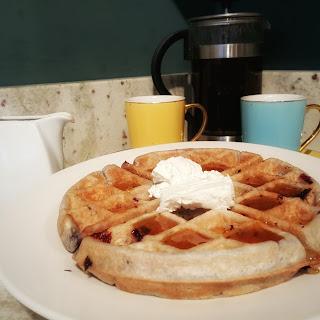 Lemon Almond Blueberry Waffles with Honey Lemon Syrup