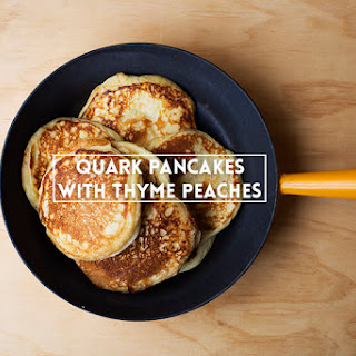 Quark Pancakes with Thyme Peaches