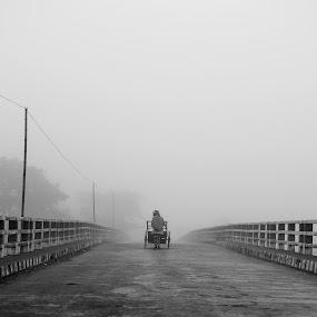 A path to the MIST by Rahat Amin - City,  Street & Park  Street Scenes ( walking, b&w, black and white, street, bw, chill, people, rural, bangladesh, winter, village, fog, lifestyle, path, bridge, nikon, bnw, d5100, sylhet, mist )