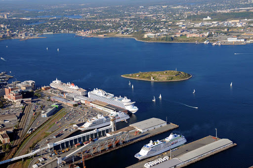 An aerial view of cruise ships and pleasure craft in Halifax Harbour.