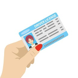 "[Image is a drawing of a light skinned hand with red fingernails holding a blue and white card. The card says ""driver license"" at the top, has a head shot of a person with short brown hair on the left, and lines made to look like text on the right.]"