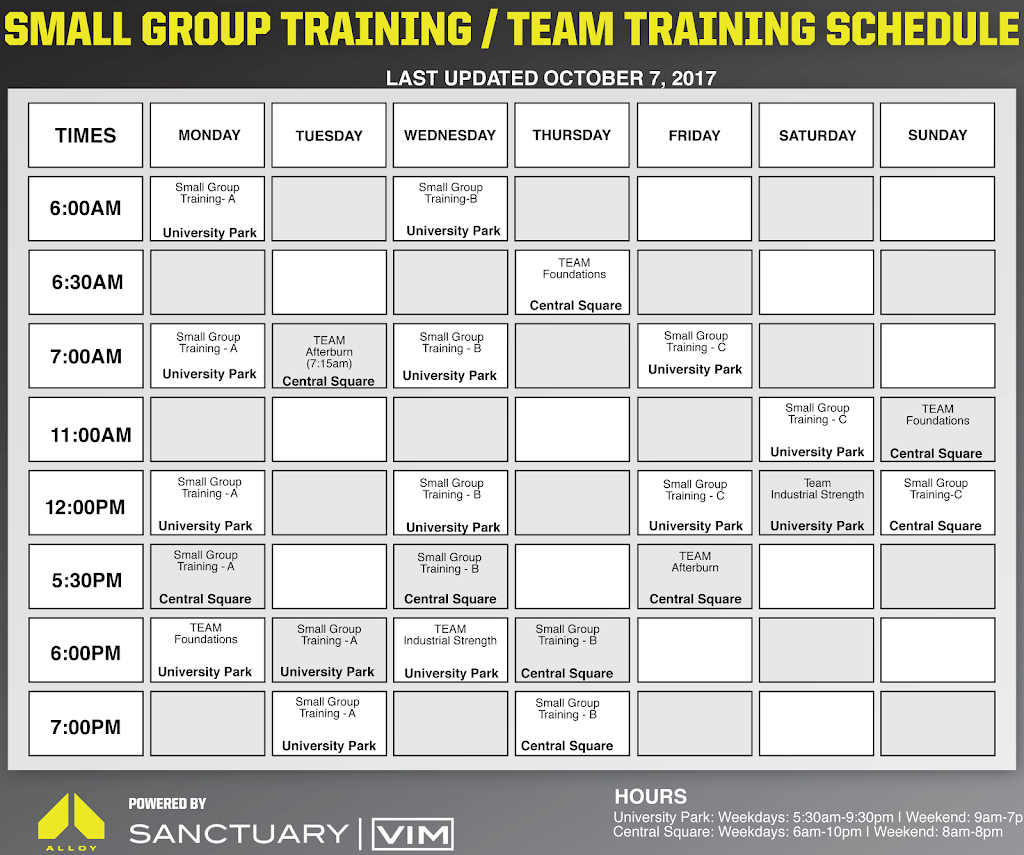 vim small group training schedule
