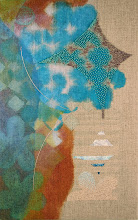 """Photo: Weather 11"""" x 17""""  Hand embroidery and stitched glass beads on acrylic painted linen.  All rights reserved c. 2014 Karin Birch"""