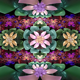 Flower Symmetry by Peggi Wolfe - Illustration Abstract & Patterns ( abstract, wolfepaw, jwildfire, gift, unique, bright, illustration, fun, digital, print, décor, pattern, color, unusual, fractal, flower )