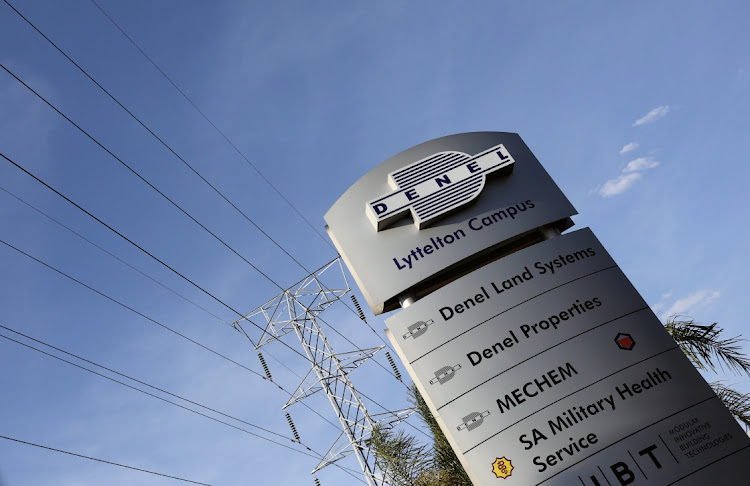 A Denel company logo is seen at the entrance of its business divisions in Pretoria. Picture: REUTERS/SIPHIWE SIBEKO