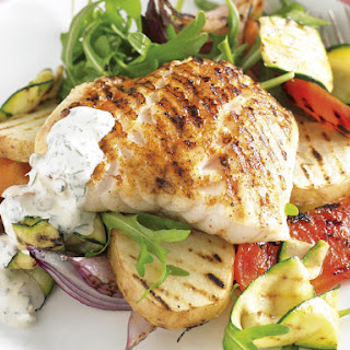 Grilled Fish and Veggies with Tartar Sauce.