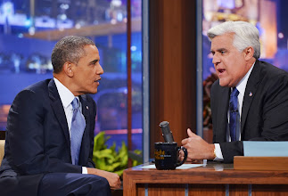 Photo: US President Barack Obama chats with host Jay Leno during a taping of The Tonight Show with Jay Leno at NBC Studios on August 6, 2013 in Burbank, California. AFP PHOTO/Mandel NGAN        (Photo credit should read MANDEL NGAN/AFP/Getty Images)