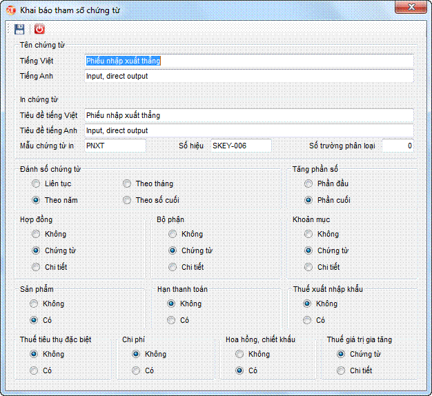 Khai báo tham số chứng từ phần mềm kế toán 3TSoft