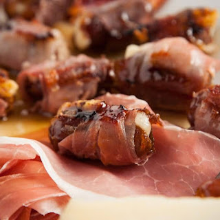 Serrano Ham Wrapped Dates with Sweet Bourbon Glaze