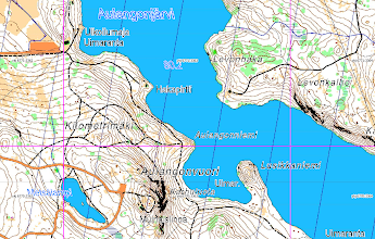 Photo: A screen capture from QGIS: place names on a Karttapullautin map, as fetched from the wms server of the National Land Survey of Finland. Also a 1 km x 1 km grid ykj graticule (purple lines).