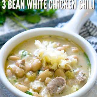 Quick & Easy Three Bean White Chicken Chili.