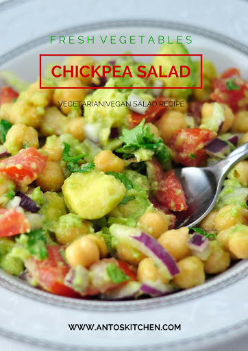 chickpea salad with tomato and onion