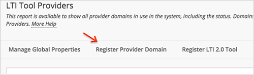 Click Register Provider Domain