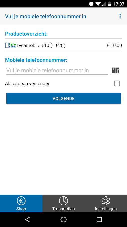 Lycamobile - Beltegoed- screenshot