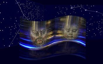 """Photo: Fotoprojekt Motion Polarity © Franz Immoos Amsterdam 2014 Bei den Arbeiten werden Abbildungen von Masken mit einem bewegten Hintergrund als """"Fotocollagen"""" miteinander kombiniert. Das Projekt besteht aus diesen Maskenbilder die in einer Mann-Frau Gegenüberstellung auf konkav - konvex Screens projiziert werden. Im abgedunkelten Raum werden Sternenbilder projiziert. (bzw mit fluorezierender Farbe aufgemalt)."""