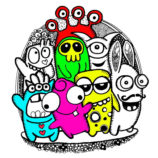 app insights little monsters coloring book doodle art apptopia