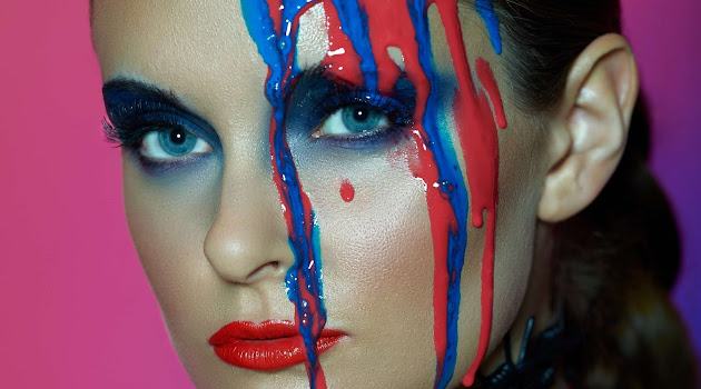Model with paint on her face