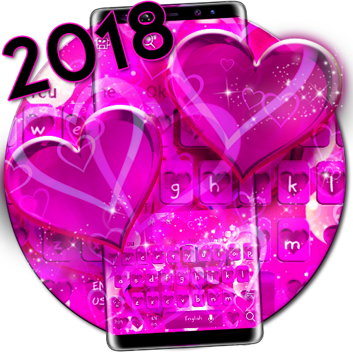 Sparkling Purple Pink Hearts Keyboard Theme Android APK Download Free By RIU Design