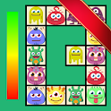 Connect: cute monsters and food. Casual game icon