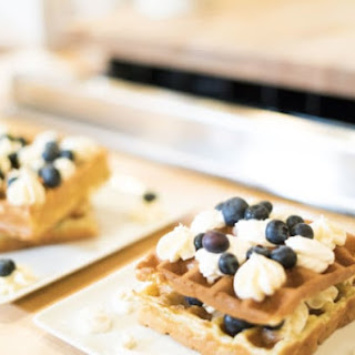 Blueberry Waffles with Lemon Curd and Cream Cheese Frosting.