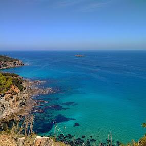 Blue waters by Anastasis Agathokleous - Landscapes Waterscapes ( blue sky, green, blue, rocks, waterscape, beach, hills, water, trees,  )