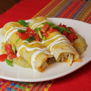 Chicken Enchiladas with Hatch Chile Sauce.