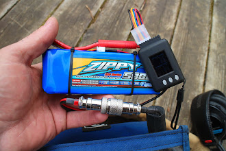 Photo: Cheap but powerful four sell 5 Ah LiPo battery and cell-log and voltage monitor. This battery can operate the recorder + mixer up to 10 hours  http://hobbyking.com/hobbyking/store/uh_listCategoriesAndProducts.asp?idCategory=86&LiPoConfig=4&sortlist=&CatSortOrder=desc