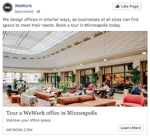 Facebook Ad Example - WeWork