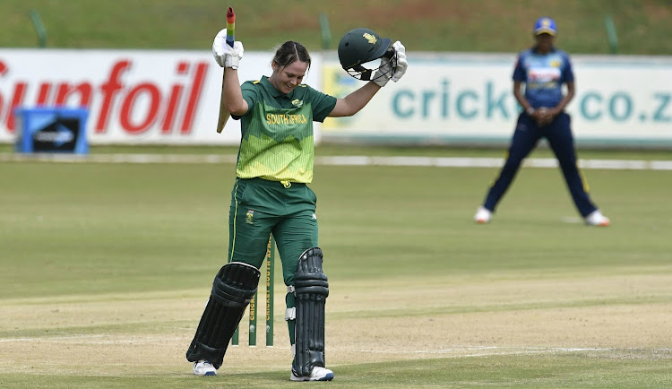 South Africa skipper Dane van Niekerk celebrates her century during the 1st Women's one day international against Sri Lanka at Senwes Park on Monday February 11, 2019 in Potchefstroom, South Africa.