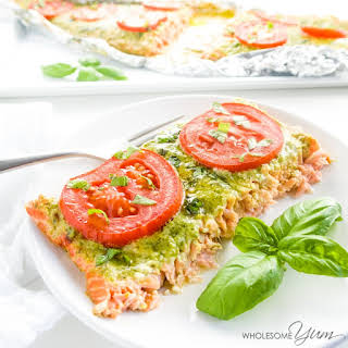 4-Ingredient Salmon Milano with Pesto Butter (Low Carb, Gluten-free).