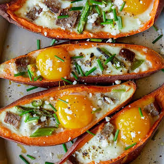 Twice Baked Steak and Egg Sweet Potatoes.