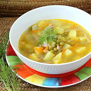 Potato, Green Pea, and Celery Soup