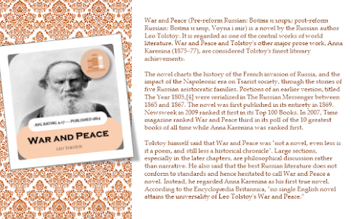 "the life and literary piece war and peace by leo tolstoy My decades-long battle against tolstoy ended in ""war and peace"" warning: narcissism, high dose i first heard of leo tolstoy when i was 11 or 12 years old he was mentioned briefly, along."