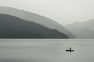 Photo: Alone on Chuzenji  Today's photo goes to show you how much can go on behind the scenes of a photo that you may never see! All was calm on the lake, but on the shore not far away, something much less relaxing was going on. You can read more about it at the blog, but I'll say it involved a wild monkey and a little girl. Never been a big fan of monkeys....  Blog post: http://lestaylorphoto.com/alone-on-chuzenji/  #monochromemonday #japan #travel
